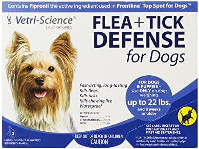 Vetri-Science Laboratories Flea + Tick Defense for Dogs and Puppies Upto 22-Pound, 3 Doses