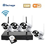 Techage 720P WIFI CCTV System 4CH 1.0MP Wireless NVR + Waterproof IP Camera IR-CUT Night Vision Home Security Surveillance Kits With 1tb HD