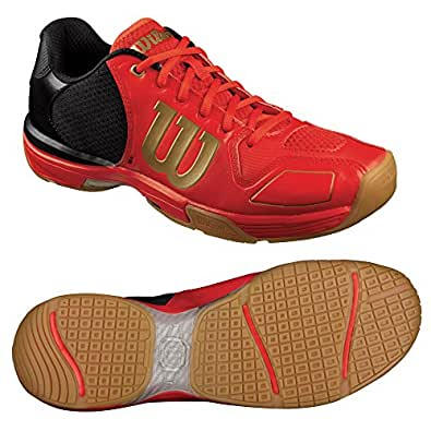 WILSON Vertex Unisex Squash Shoe, Red/Black, US8.5