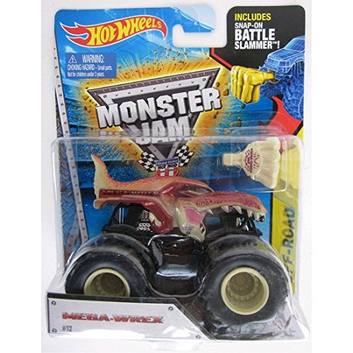 Hot wheels Monster Jam Mega Wrex brown dinosaur includes snap on battle slammer NEW RARE