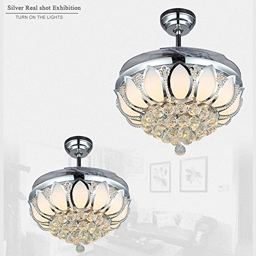 Luxury Modern Crystal Chandelier Ceiling Fan Lamp Folding Ceiling Fans With Lights Chrome Ceiling Fan With Light Dining Room Decorative with Remote