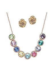 Beora 18k Gold Plated Classic Crystal Necklace Set For Women