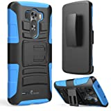 i-Blason LG G3 Case - Prime Series Dual Layer Holster Case with Kickstand and Locking Belt Swivel Clip (Blue)