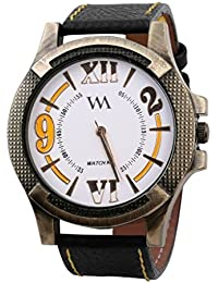 Watch Me White Dial Black Leather Watch For Men And Boys WMAL-063-W