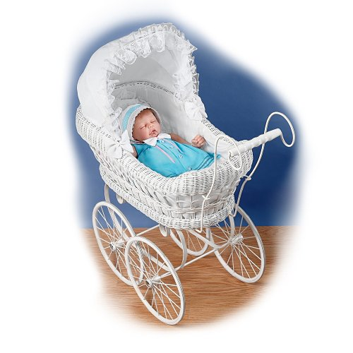 The White Victorian-Style Wicker Baby Doll Carriage: Baby Doll Accessories by The Ashton-Drake Galleries