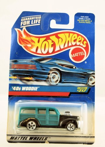 40's Woodie (Teal with 5 Dot Wheels) Hot Wheels Collector #217 on Blue/white Card - 1