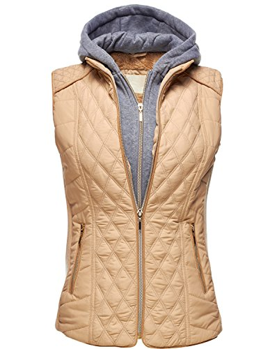 Winter Quilted Lightweight Hooded Fur Lined Vests, 071 - Khaki, US L (British Plaid Coat compare prices)