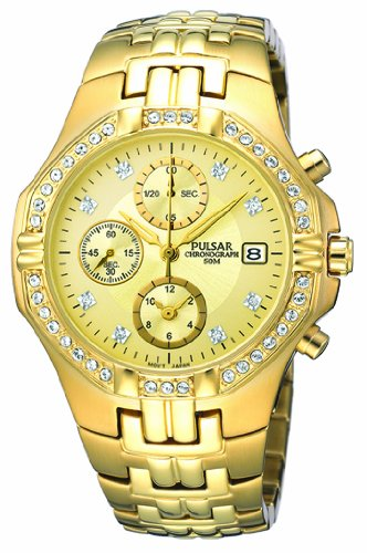 Pulsar PF8174X1 Ladies Stone Encrusted Chronograph Watch with Gold Plated Bracelet