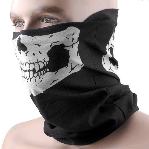 Unique Stretchable Windproof Black Tribal Classic Skull Soft Polyester Half Face Mask Facemask Headwear for Motorcycle ATV Biker Cycling by HD Trading