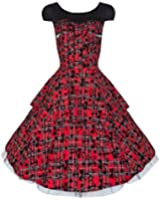 Ladies Vintage / Alternative Style Red Tartan Flocked Zip Detail Tiered Rockabilly Dress