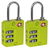 IVATION! 3 Dial TSA Approved Combination Luggage lock (With Instant Alert Red Tab Indicator If opened By TSA) Green- 2 Pack