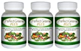 Perfect Greens PLUS (3 Bottles) - Highly concentrated Superfood Supplement. The Full Spectrum, Vitamin & Mineral Herbal Whole Food Product
