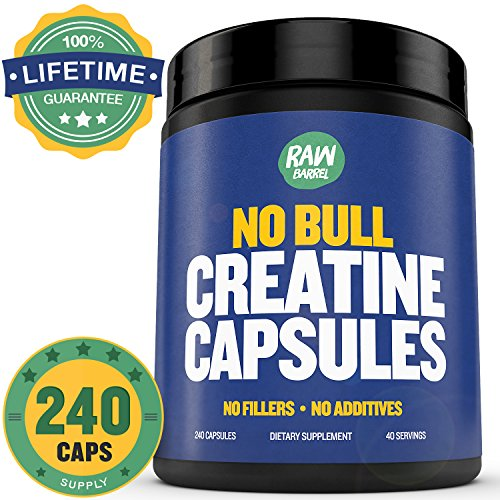 Raw Barrel's - Pure Creatine Monohydrate Capsules - 240 micronized pills - 700mg - SEE RESULTS OR YOUR MONEY BACK - With *FREE* Digital Guide (Customer Factory Blueprint compare prices)
