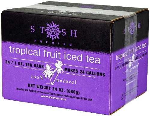 Stash Tea Tropical Fruit Black Tea, 1 Ounce Iced Tea Brew Bags (Pack Of 24)