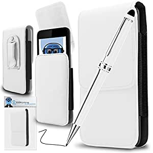 White PREMIUM PU Leather Vertical Executive Side Pouch Case Cover Holster with Belt Loop Clip and PRO Captive Touch Tip Stylus Pen with Rubber Tip with Roller Ball Pen For Wiko Tommy