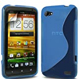 ONX3 HTC ONE V Blue S Line Wave Gel Case Skin Cover + LCD Screen Protector Guard