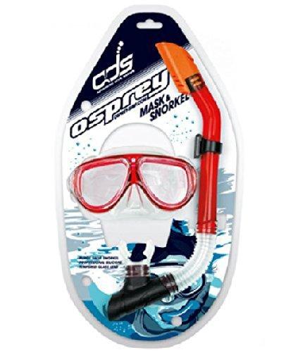 Osprey - Silikon Maske & Schnorchel Set für Erwachsene Fortgeschrittenen Serie - Rot