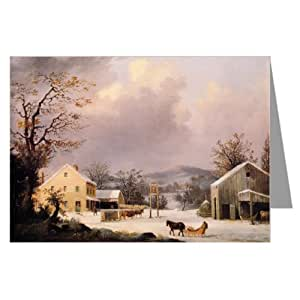 Currier and Ives Christmas Holiday Country Inn Greeting Card set