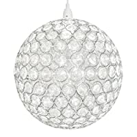 Modern Chrome Ceiling Light Shade with Acrylic Crystal Effect Beads