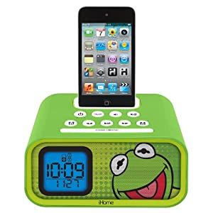 eKids Kermit the Frog Dual Alarm Clock and 30-Pin iPod Speaker Dock, by iHome - DK-H22