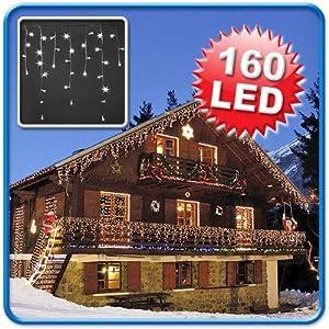 160er LED-Lichterkette Eiszapfen für Innen und Außen geeignet, LED-Farbe Weiß