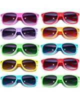 Wayfarer Sunglasses 10 Bulk Pack Lot Neon Color 80's Retro Classic Party Glasses