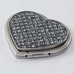 Personalized Engraved Diamante Bling Heart Compact Mirror- Shipped from England