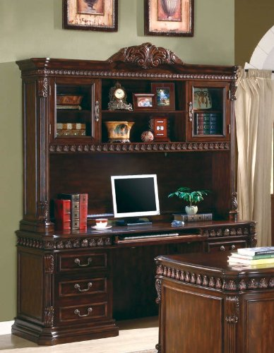 Buy Low Price Comfortable Home Office Computer Desk with Hutch in Rich Brown Finish (B0044FXB3A)