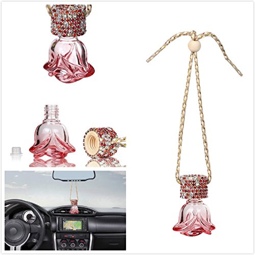 Mini-Factory Auto Car Ornament Mirror Hanging Bling Decoration Crystal Rose Refillable Glass Air Freshener Empty Bottle for Car / Home / Office (Bottle only, Perfume NOT included) (Red) (Car Air Freshener Refillable compare prices)