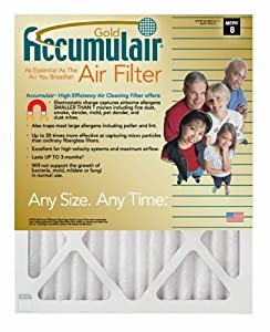 21x23x1 (Actual Size) Accumulair Gold 1-Inch Filter (MERV 8) (6 Pack)