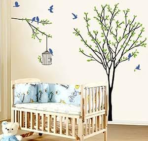 DIY amovibles décorations pour les murs Decal Stickers autocollants mat arbres et les oiseaux avec un MicroDeal® Piece chiffon de nettoyage marques par ordre