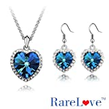 RareloveTM 18K White Gold Plated Alloy Swarovski Elements Sapphire Crystal Jewelry Sets Ocean Heart Pendant Necklace,Dangle Earrings(Free Brooch)