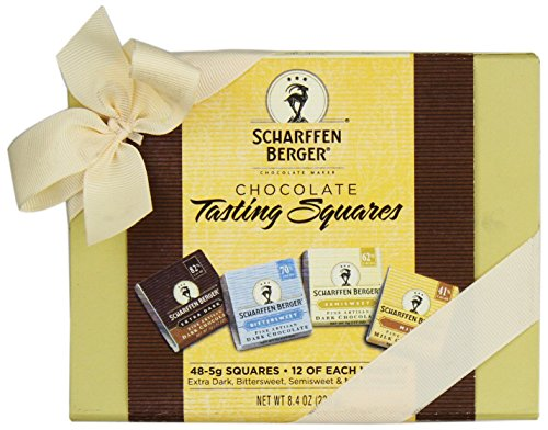 Scharffen Berger Chocolate Tasting Squares Box (41% Milk Chocolate, 62% Semisweet Chocolate, 70% Bittersweet Chocolate, And 82% Extra Dark Chocolate), 48-Piece Box
