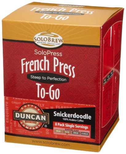 French Press To-Go SoloPress, Duncan Coffee Company Snickerdoodle, Rich, 8-Count Single Servings (Pack of 2)