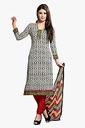 Varanga Black & White Printed Cotton Dress Material With Matching Dupatta KFCRS7002