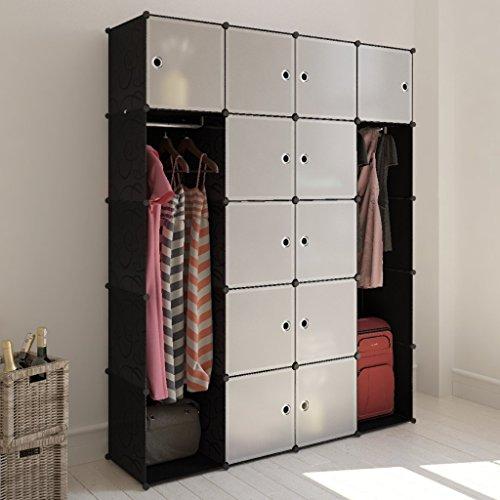 Cabinet modulable noir et blanc avec 14 compartiments 37 x 150 x 190 cm