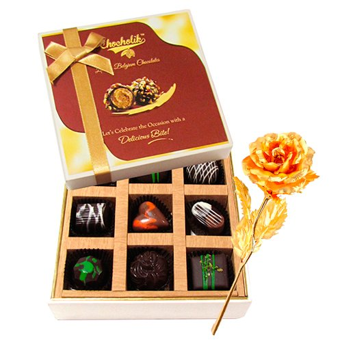 Valentine Chocholik Premium Gifts - Titillating Choco Treat With 24k Gold Plated Rose