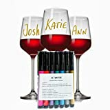 Wine Glass Markers Set of 7 Metallic Pens - Write on any Glassware - Alternative To Party Wine Charms - Draw & Personalize your Drinks-Vibrant Metallic Colors