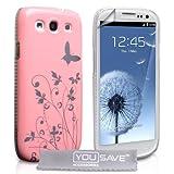 """Samsung Galaxy S3 Tasche Licht Rosa Schmetterling Harte H�lle Mit Displayschutz Und Poliertuchvon """"Yousave Accessories�"""""""