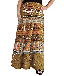 Aura Life Style Women Printed Cotton Long Wrap Around Skirt (ALSK5042W, Brown, Free Size)