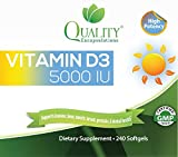 Quality Encapsulations Vitamin D3 5000 IU Dietary Supplements, 240 Softgels