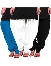 Women's Sky-White-Black Cotton Patiala Salwar