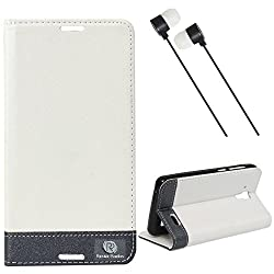 DMG Lenovo A536 Flip Cover, DMG PRaiders Premium Magnetic Wallet Stand Cover Case for Lenovo A536 (White) + Black Stereo Earphone with Mic and Volume Control