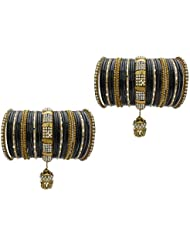 Black Bridal Chura Wedding Bangles Chuda By My Design(size-2.4)