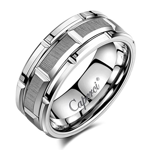 Caperci Men's 8mm Brick Pattern Tungsten Wedding Band Ring
