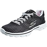 Skechers Women's Go Walk 3-Fitknit Go Walk 3-Fitknit Black White Mesh Walking Shoes - 5 UK/India (38 EU) (8 US)