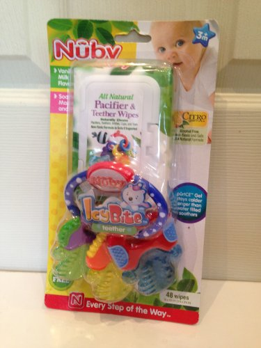 Baby Teething Set - Icy Bite Teether and Pacifier and Teether Wipes - 1