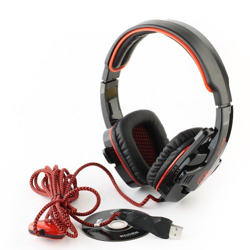 Sades Sa-901 Usb Cable Stereo 7.1 Surround Headphone Computer Gaming Headset Headphone Earset Earphone With Microphone Black / Red