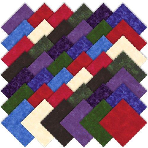 Moda Basics Marbles Bright Charm Pack, Set of 42 5x5-inch (12.7x12.7cm) Precut Cotton Fabric Squares