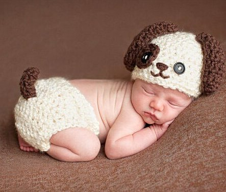 Baby Newborn Handmade Knitted Crochet Hat Costume Photograph Props (Puppy)